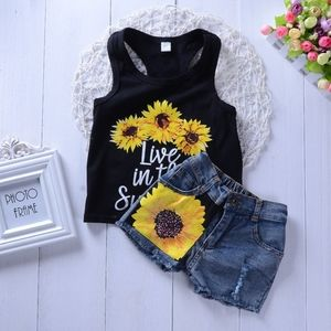 Girls sunflower outfit 4t tank top shorts